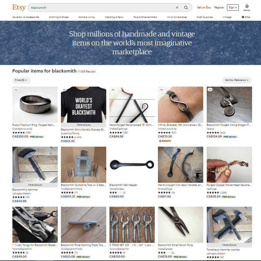 A screenshot of etsy and its various products it has to offer.