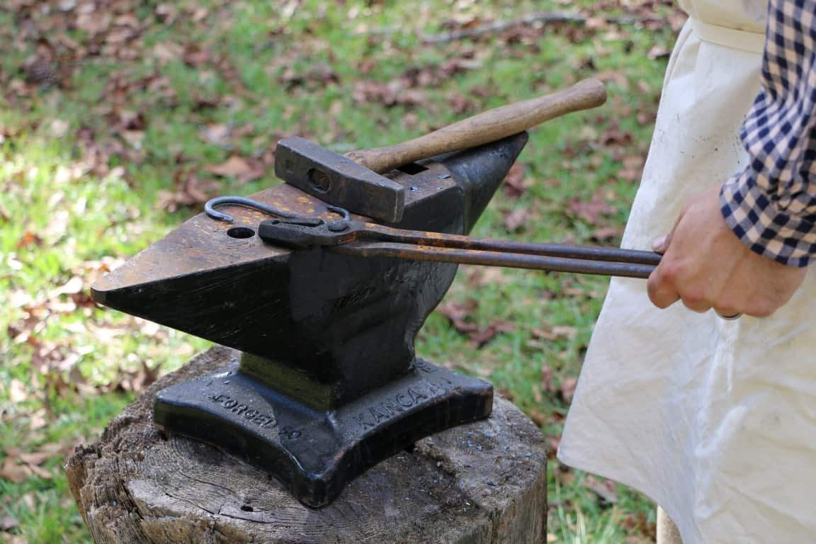 blacksmithing at home on an anvil