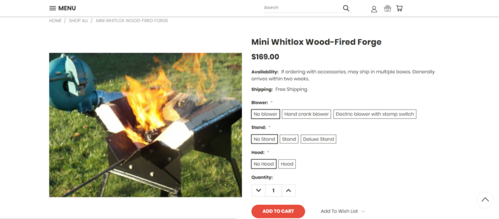 Wood fire forge