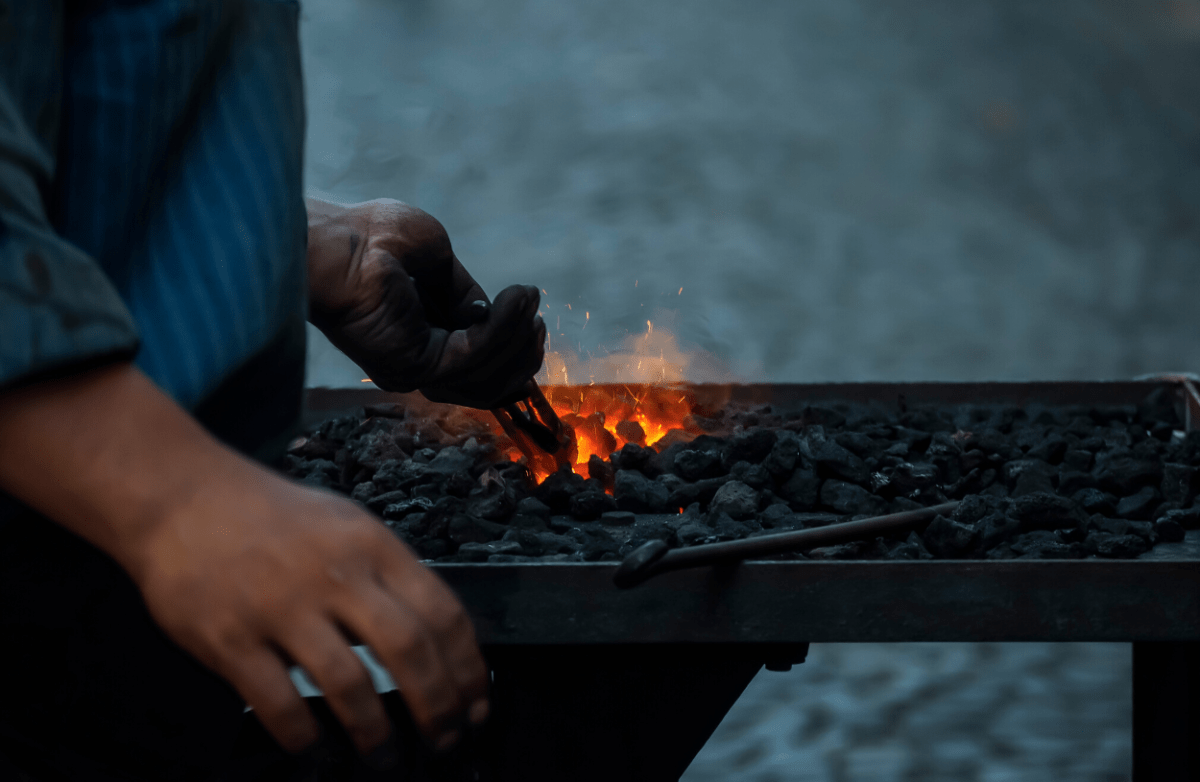 Blacksmithing forges and coals.
