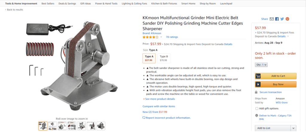 Picture of another belt grinder.